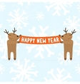 Two cartoon deers holding happy new year sign vector
