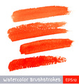 Set of red watercolor brush strokes vector