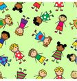 Cartoon seamless pattern with children vector
