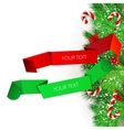 Origami paper banners christmas design vector