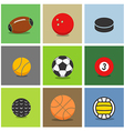 Sport ball silhouettes color collection vector