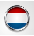 Abstract button with metallic frame netherlands vector