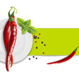 Background of hot peppers vector