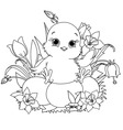 Happy easter chick coloring page vector
