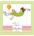 Little girl siting in a pea been baby announcement vector