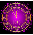 Purple new year clock vector