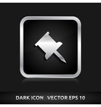 Pin icon silver metal vector