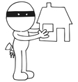 Thief holding house vector