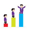 Successful businessman on chart vector
