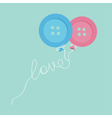 Blue pink button balloons love thread card flat vector