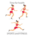 Dancing girl red sports pants cartoon flat vector