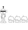 Thief choosing house vector