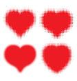 Set of red hearts halftone logo vector