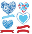 Wedding romantic collection ribbons hearts flowers vector