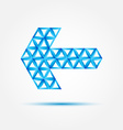 Blue abstract arror made with triangles - vector