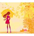 Stylish woman with umbrella vector