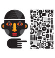 Stylized face and icons vector