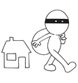 Thief carrying bag vector