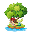 A mermaid in the island vector