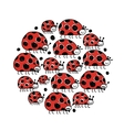Ladybird family frame for your design vector