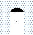 Black umbrella protects from rain vector