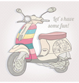 Colorful vintage scooter postcard greeting card vector