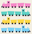 Colorful trains isolated on beige background vector