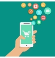 Smartphone apps shopping infographics with hand vector
