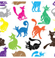 Cat seamless pattern background sketch collection vector