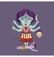 Abstract hindu goddess kali religion cult india vector