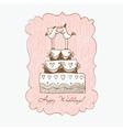 Wedding cake hand draw vector