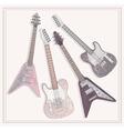 Electric and bass guitars set cute guitars vector