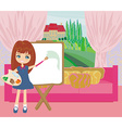Little artist girl painting landscape from the vector
