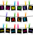 Summer sale concept with photo frames hanging on vector