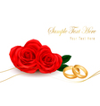 Wedding rings and roses bouquet vector