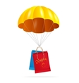 Yellow parachute with shopping bag vector