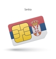 Serbia mobile phone sim card with flag vector
