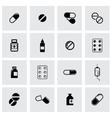 Black pills icon set vector