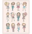Cartoon girls fashion children set of cute girls vector