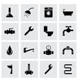 Black plumbing icon set vector