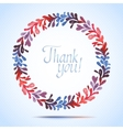 Thank you watercolor floral wreath greeting card vector