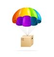 Rainbow parachute with cardboard box on a white vector