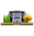 A big house with fence and plants vector