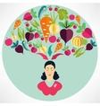 Elegant woman presenting healthy vegetables heart vector