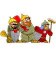 Cartoon funny warriors bogatyrs vector