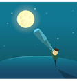 The boy looks at the moon through a telescope vector