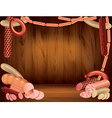 Sausages wood background vector
