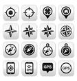 Gps navigation wind rose compass buttons set vector