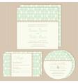 Green vintage wedding invitations set vector