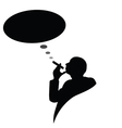 Man with cigarette and black cloud for text vector